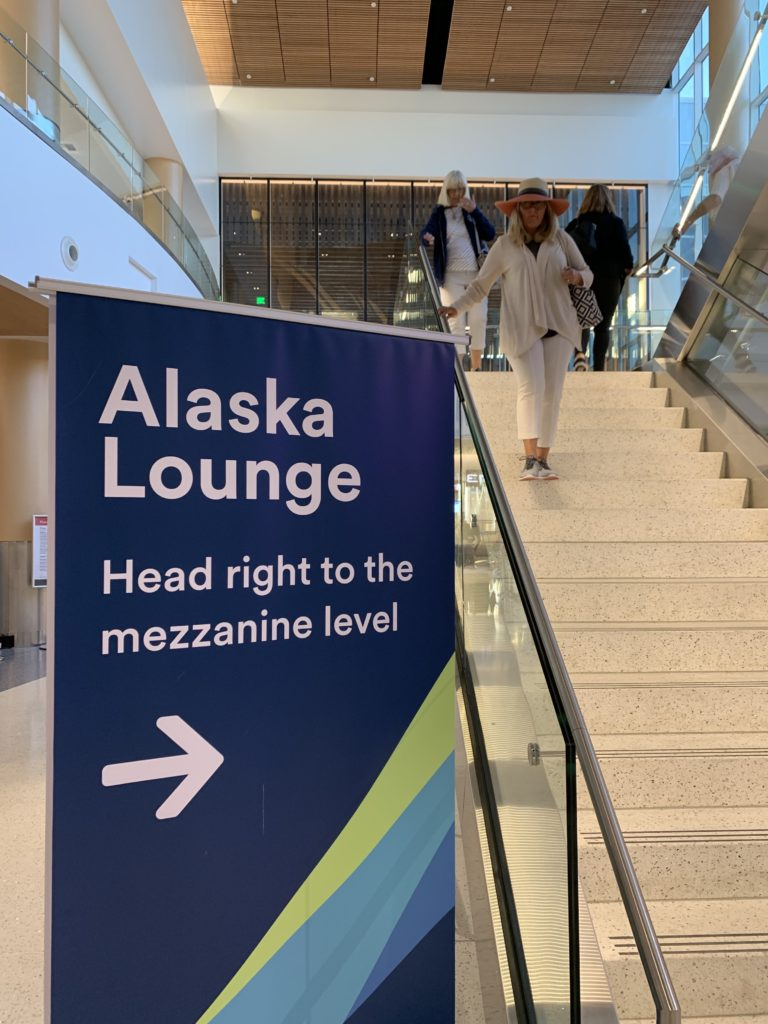 Sign to Alaska Air new lounge